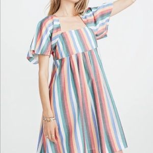 Madewell Square Neck Festival Stripe Dress